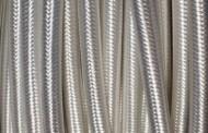 Câble électrique tissu rond blanc