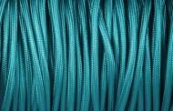 Câble électrique tissu rond bleu canard.