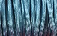 Câble électrique tissu bleu clair