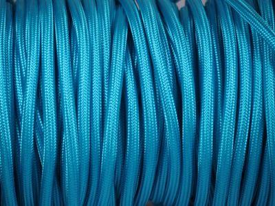 Cable lectrique tissu bleu produits restauration de meubles - Cable electrique tissu ...