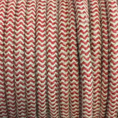 cable electrique tissu ficelle et rouge