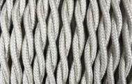 Câble électrique tissu torsadé sable