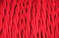 Câble électrique tissu torsadé rouge