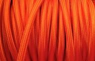 Câble électrique tissu rond orange