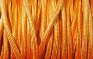 Câble électrique tissu orange pale