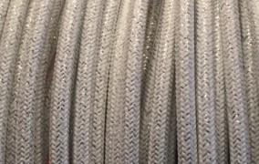 Câble électectrique tissu, blanc pailleté.
