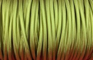 Câble électrique tissu vert anis.