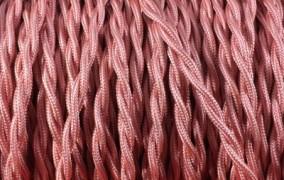 Fil électrique tissu torsadé vieux rose