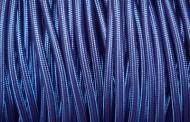 Câble électrique tissu rond bleu