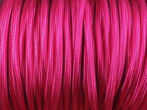 cable electrique tissu rond fushia