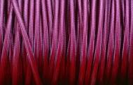 Câble électrique tissu violet