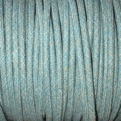 Fil électrique tissu chiné pastel bleu et beige
