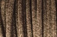 Câble électrique tissu chiné marron