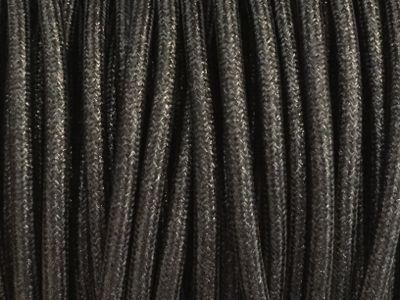 fil electrique tissu noir brillant