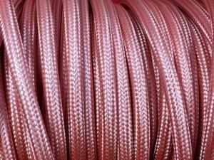 fil electrique tissu rond vieux rose
