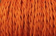 Fil électrique tissu torsadé orange